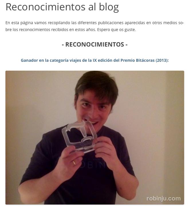Reconomientos al blog