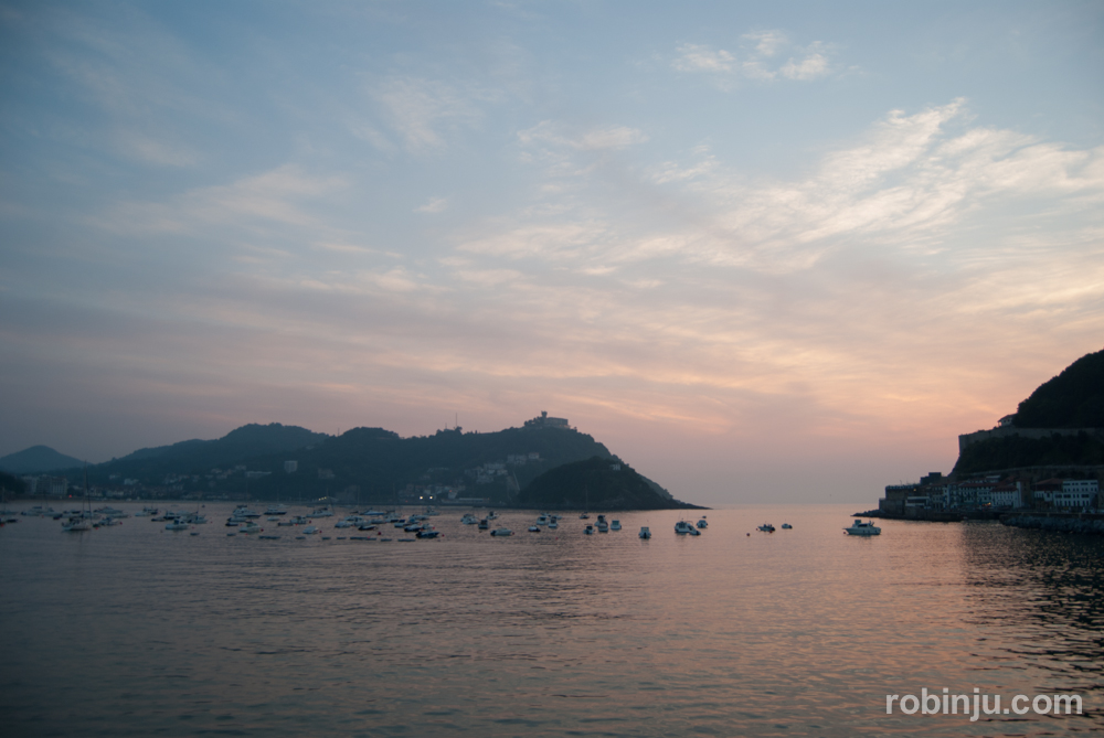 Atardecer en la Playa de la Concha, San Sebastián